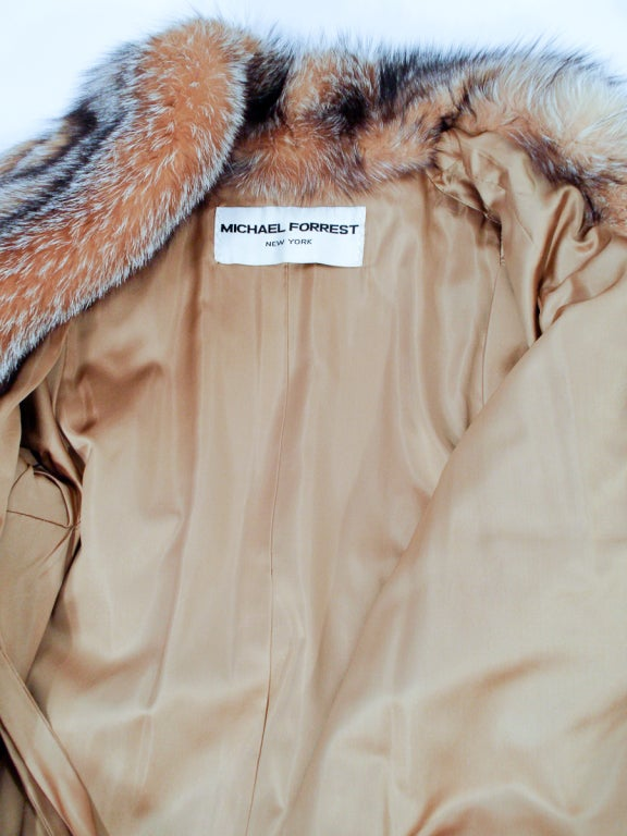 Michael Forrest Honey Brown Crystal Fox Calf length Fur Coat Collar For Sale 6