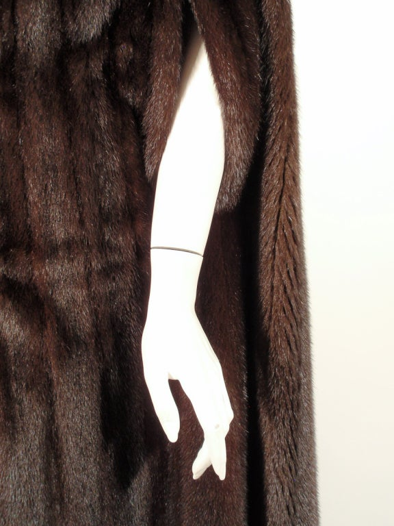 Michael Forrest Dark Brown Ranch Mink Long Cape with Collar For Sale 5