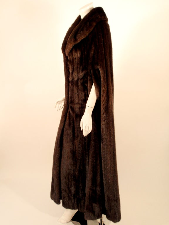 Black Michael Forrest Dark Brown Ranch Mink Long Cape with Collar For Sale