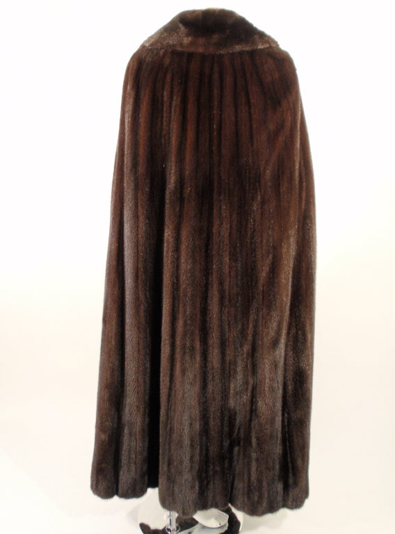 Michael Forrest Dark Brown Ranch Mink Long Cape with Collar In Excellent Condition For Sale In Los Angeles, CA