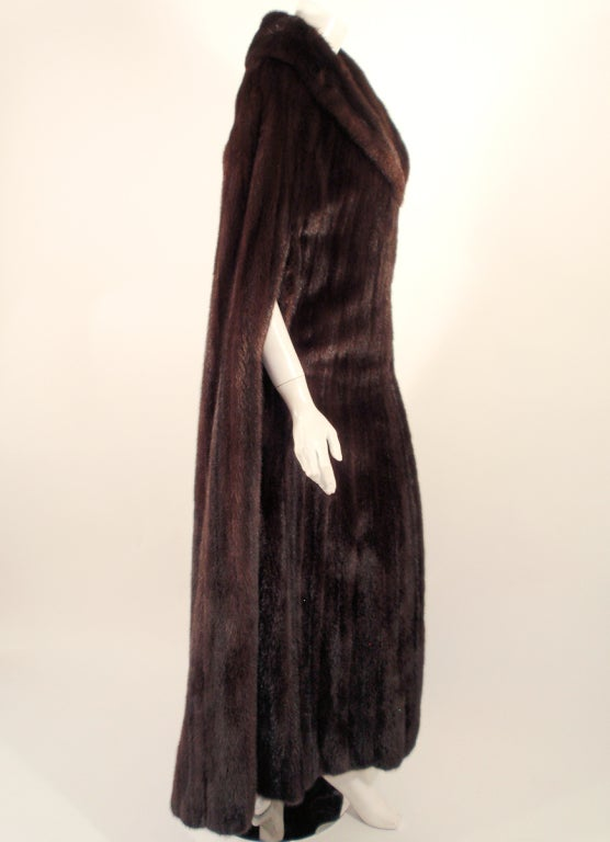 Women's Michael Forrest Dark Brown Ranch Mink Long Cape with Collar For Sale