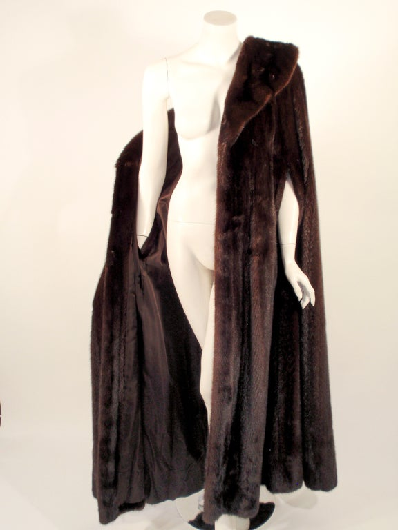 Michael Forrest Dark Brown Ranch Mink Long Cape with Collar For Sale 1