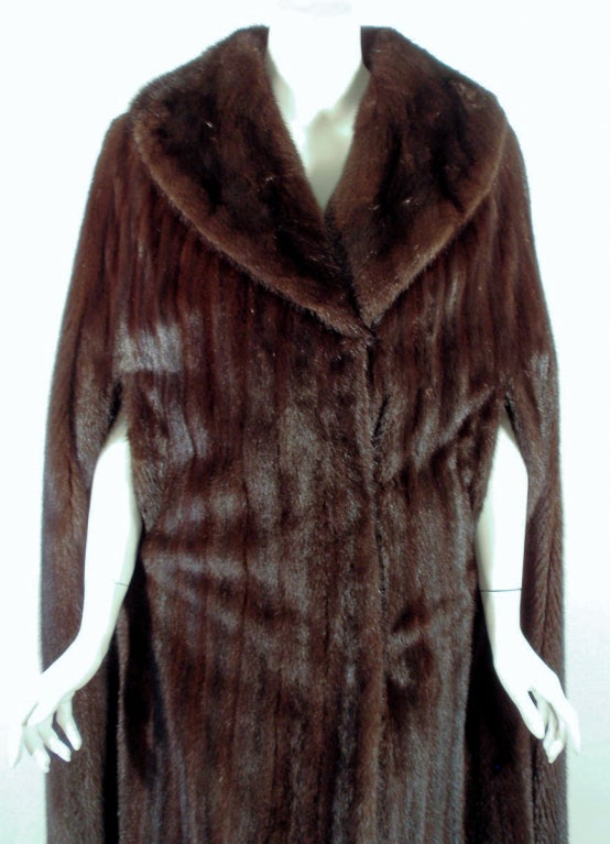 Michael Forrest Dark Brown Ranch Mink Long Cape with Collar For Sale 2