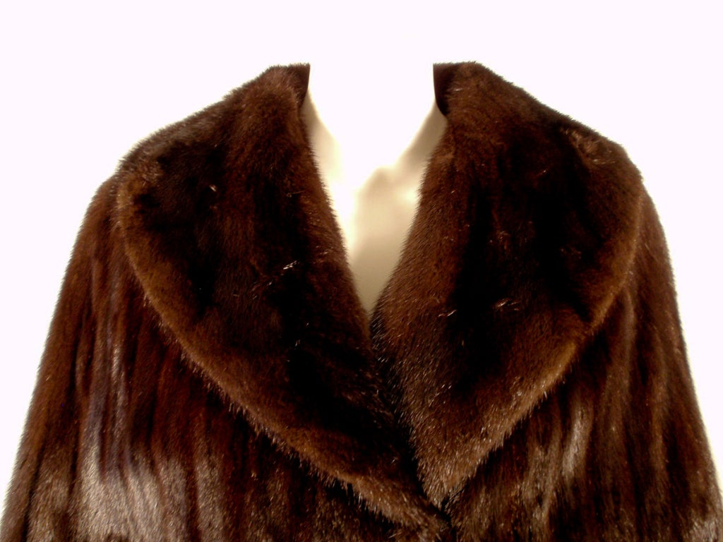 Michael Forrest Dark Brown Ranch Mink Long Cape with Collar For Sale 3