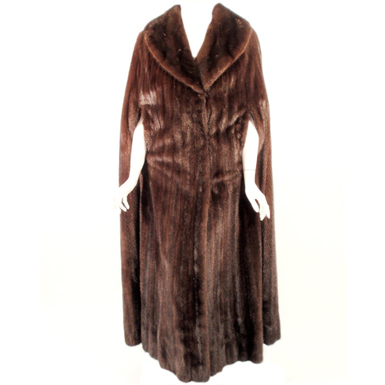 Michael Forrest Dark Brown Ranch Mink Long Cape with Collar For Sale