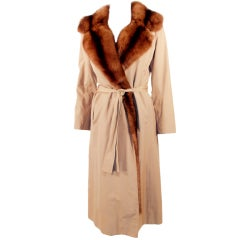 Norell for Michael Forrest Sable Tan Trench Coat, 1970s