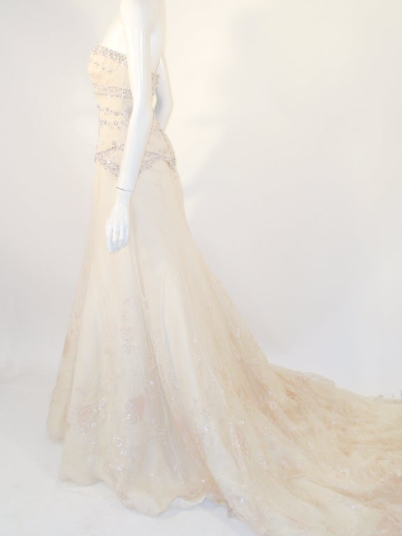 Badgley Mischka Cream Beaded Strapless wedding Gown w/ Train 3