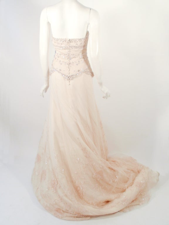 Badgley Mischka Cream Beaded Strapless wedding Gown w/ Train 4
