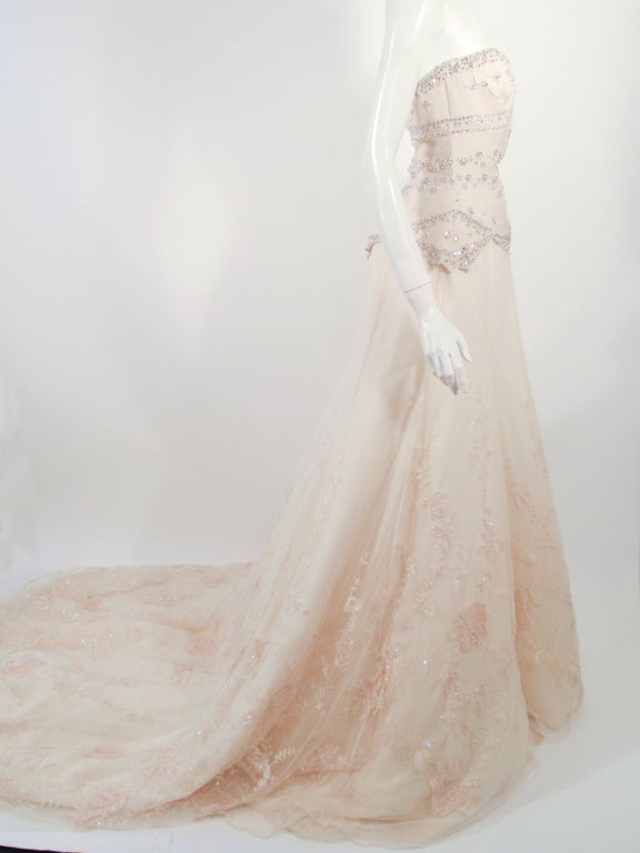 Badgley Mischka Cream Beaded Strapless wedding Gown w/ Train 5