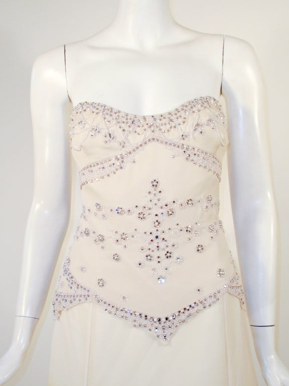 Badgley Mischka Cream Beaded Strapless wedding Gown w/ Train 6
