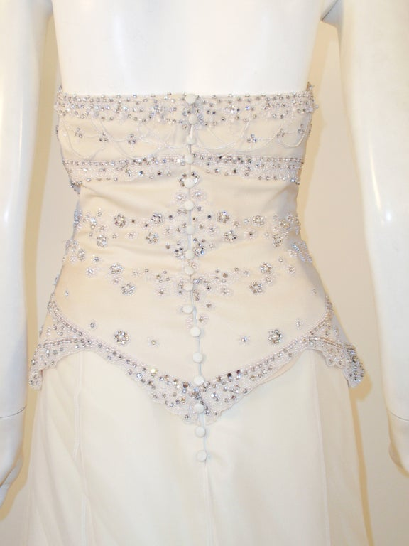 Badgley Mischka Cream Beaded Strapless wedding Gown w/ Train 7