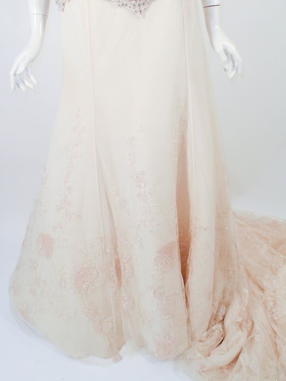 Badgley Mischka Cream Beaded Strapless wedding Gown w/ Train 9