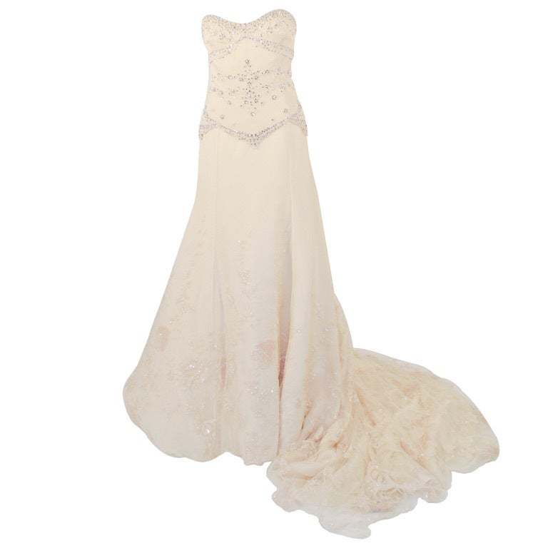 Badgley Mischka Cream Beaded Strapless wedding Gown w/ Train 1