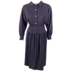 Geoffrey Beene 2 piece Navy Blue Gabardine Pintuck Seam detail Blouse & skirt