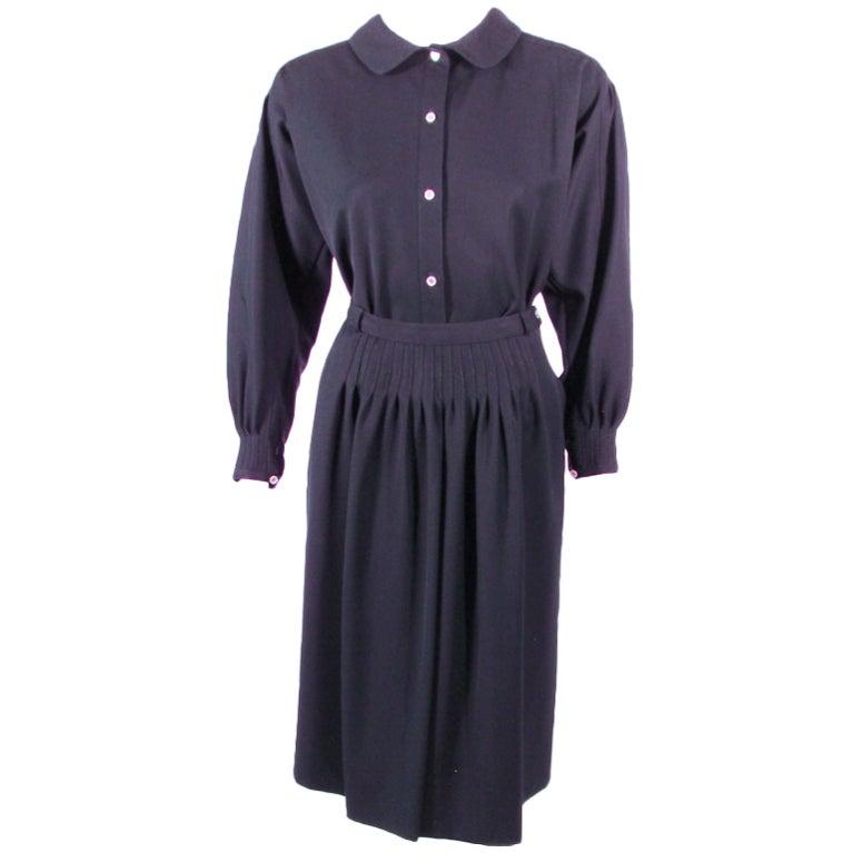 Geoffrey Beene 2 piece Navy Blue Gabardine Pintuck Seam detail Blouse & skirt