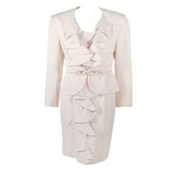 Valentino Night Cream Wool Crepe Cap Sleeve dress & Jacket with Self Belt 8