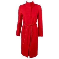 Valentino Miss V 3 pc Red Wool Coat, Skirt, Belt set