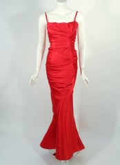 Oscar de la Renta Couture Red Satin Ruched Gown w/ Belt thumbnail 2