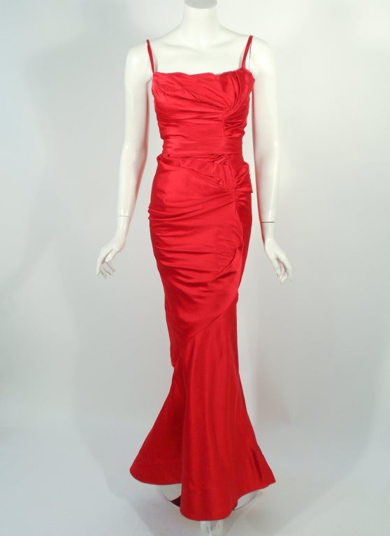 Oscar de la Renta Couture Red Satin Ruched Gown w/ Belt image 2