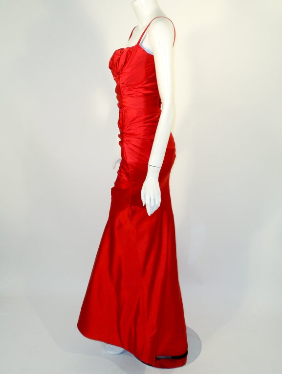 Oscar de la Renta Couture Red Satin Ruched Gown w/ Belt image 3