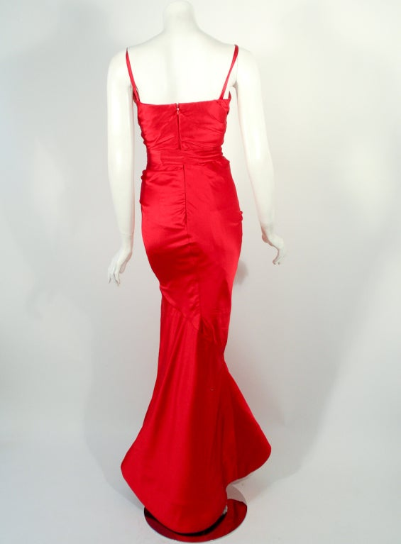 Oscar de la Renta Couture Red Satin Ruched Gown w/ Belt image 4