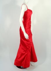Oscar de la Renta Couture Red Satin Ruched Gown w/ Belt thumbnail 5