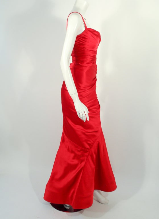 Oscar de la Renta Couture Red Satin Ruched Gown w/ Belt image 5