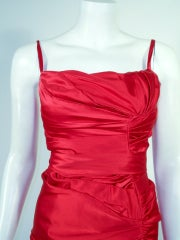 Oscar de la Renta Couture Red Satin Ruched Gown w/ Belt thumbnail 6