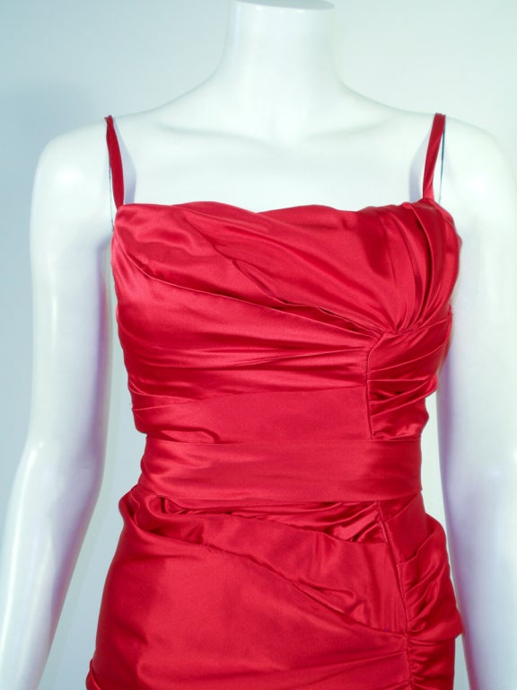 Oscar de la Renta Couture Red Satin Ruched Gown w/ Belt image 6