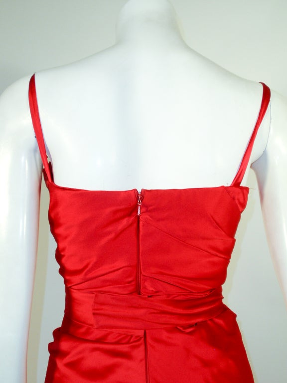 Oscar de la Renta Couture Red Satin Ruched Gown w/ Belt image 7