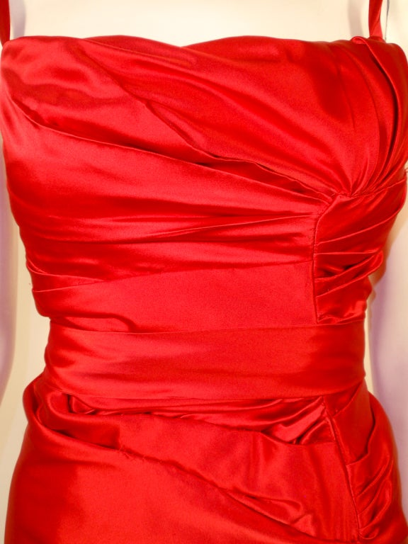 Oscar de la Renta Couture Red Satin Ruched Gown w/ Belt image 8