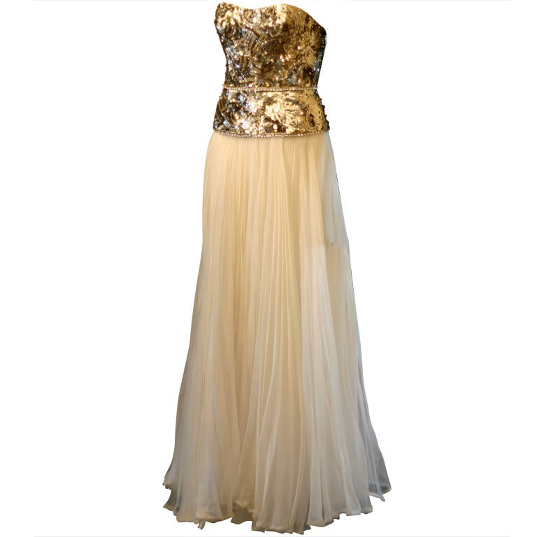 Marchesa gold white evening or wedding dress at 1stdibs for Costume jewelry for evening gowns