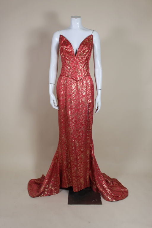 1950's Red and Gold Brocade Gown with Train 3