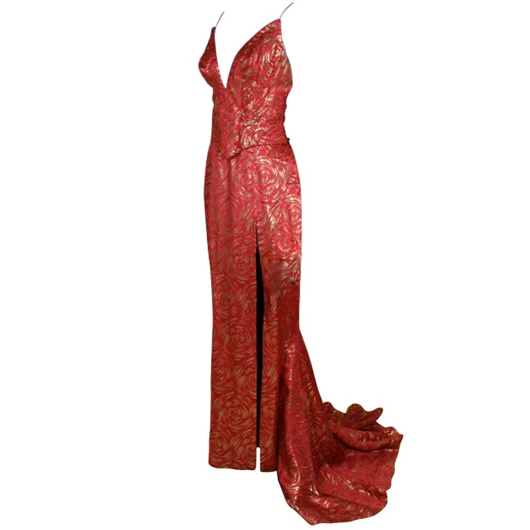 1950's Red and Gold Brocade Gown with Train 1