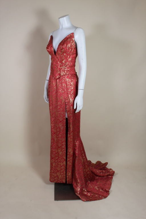 1950's Red and Gold Brocade Gown with Train 2