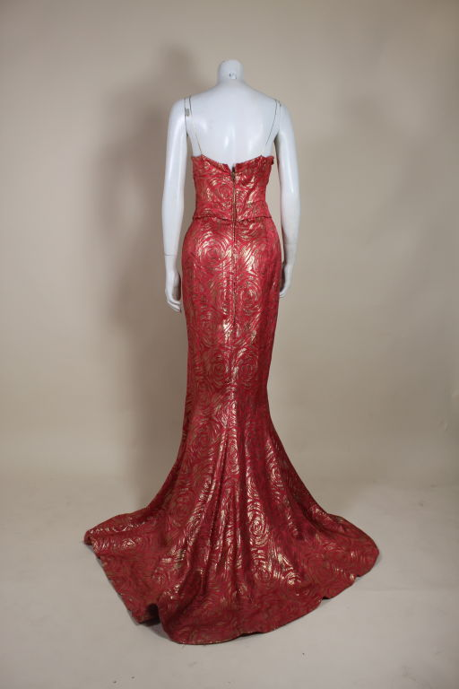 1950's Red and Gold Brocade Gown with Train 4
