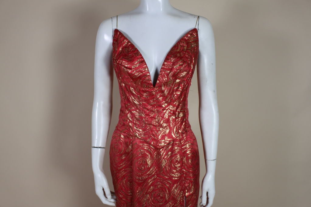1950's Red and Gold Brocade Gown with Train 5
