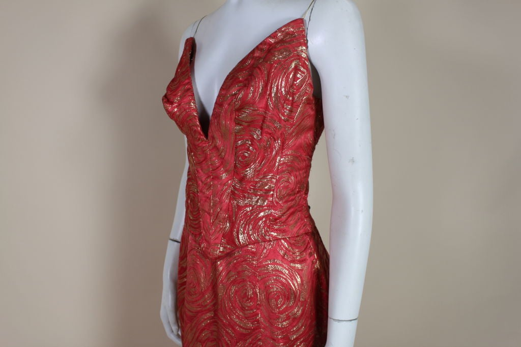 1950's Red and Gold Brocade Gown with Train 6