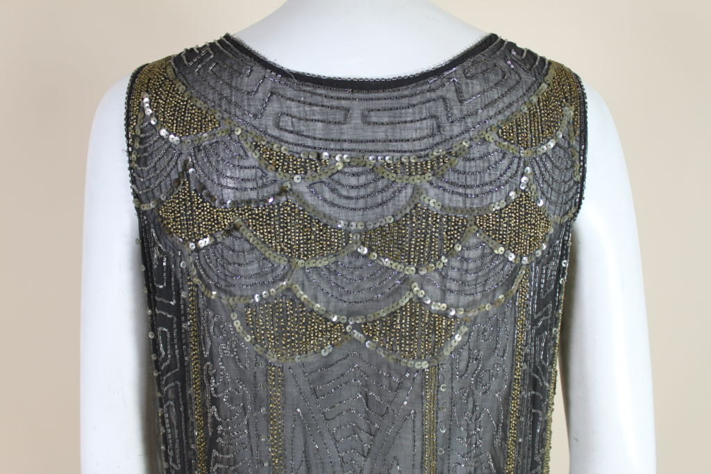 1920's Cotton Beaded Flapper Dress with Scalloped Hem 10