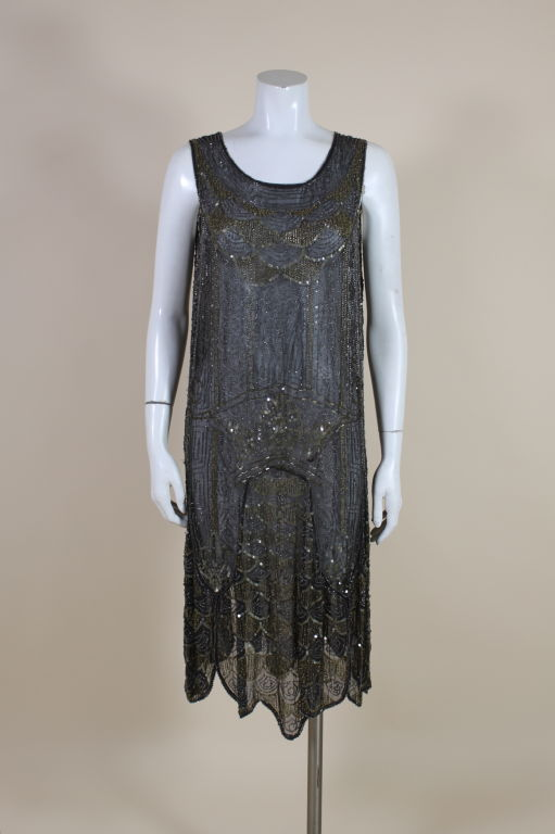 1920's Cotton Beaded Flapper Dress with Scalloped Hem 2