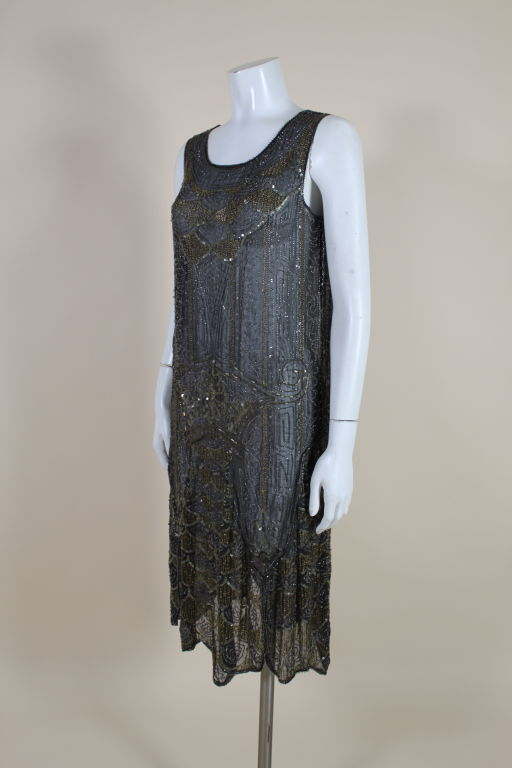 1920's Cotton Beaded Flapper Dress with Scalloped Hem 3