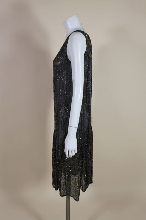 1920's Cotton Beaded Flapper Dress with Scalloped Hem 4