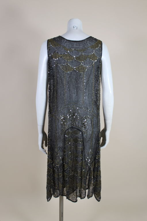 1920's Cotton Beaded Flapper Dress with Scalloped Hem 5