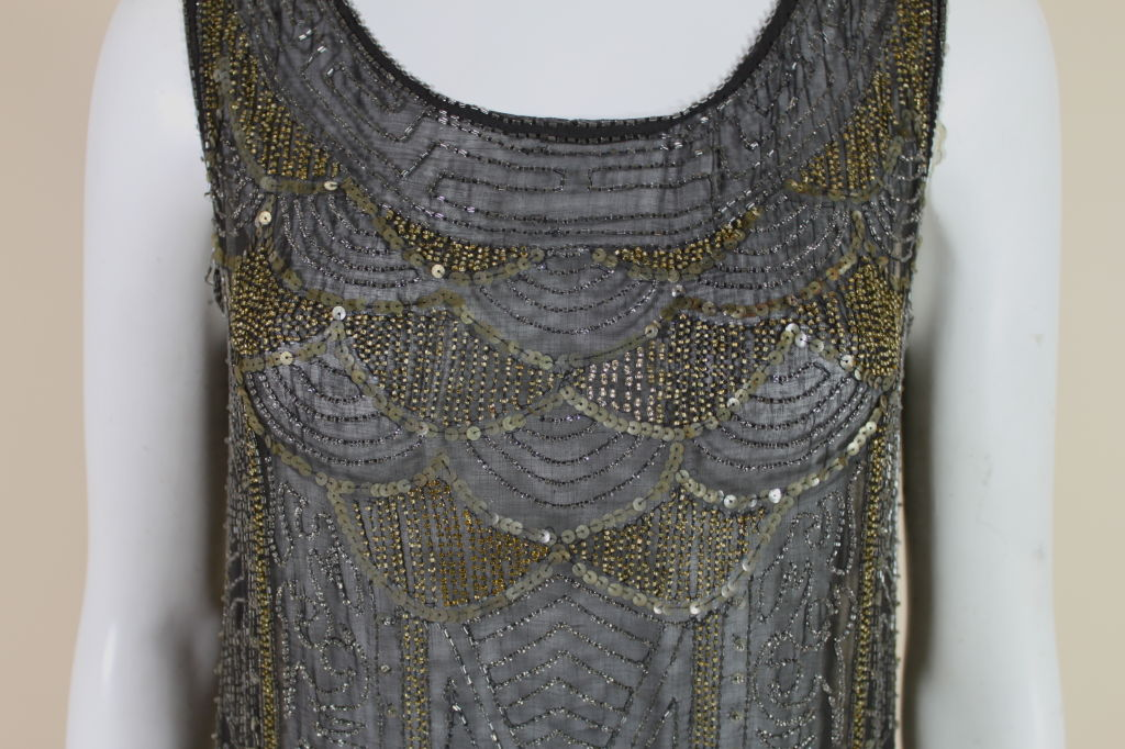1920's Cotton Beaded Flapper Dress with Scalloped Hem 6