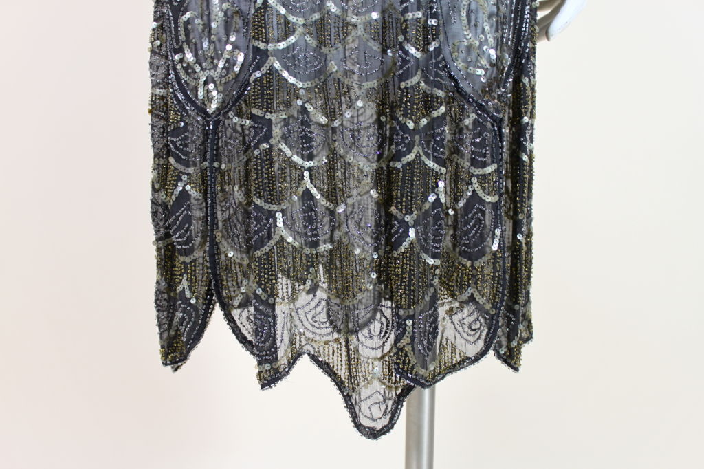 1920's Cotton Beaded Flapper Dress with Scalloped Hem 8