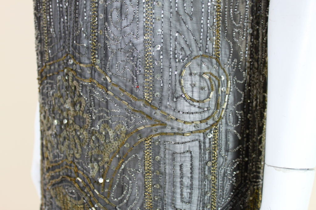 1920's Cotton Beaded Flapper Dress with Scalloped Hem 9