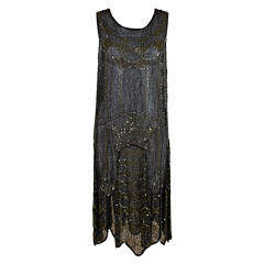 1920's Cotton Beaded Flapper Dress with Scalloped Hem
