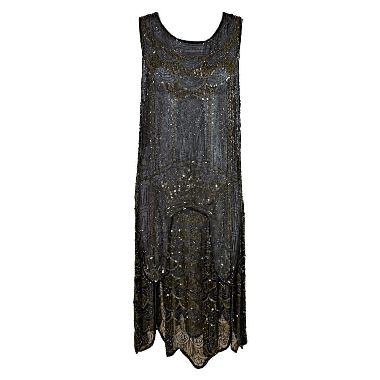 1920's Cotton Beaded Flapper Dress with Scalloped Hem 1