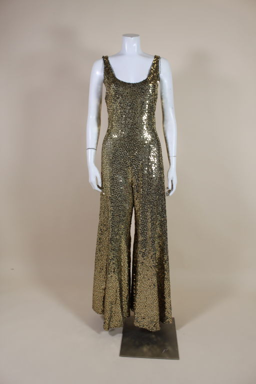 1970 S Chloe Gold Sequined Lurex Jumpsuit Image 2