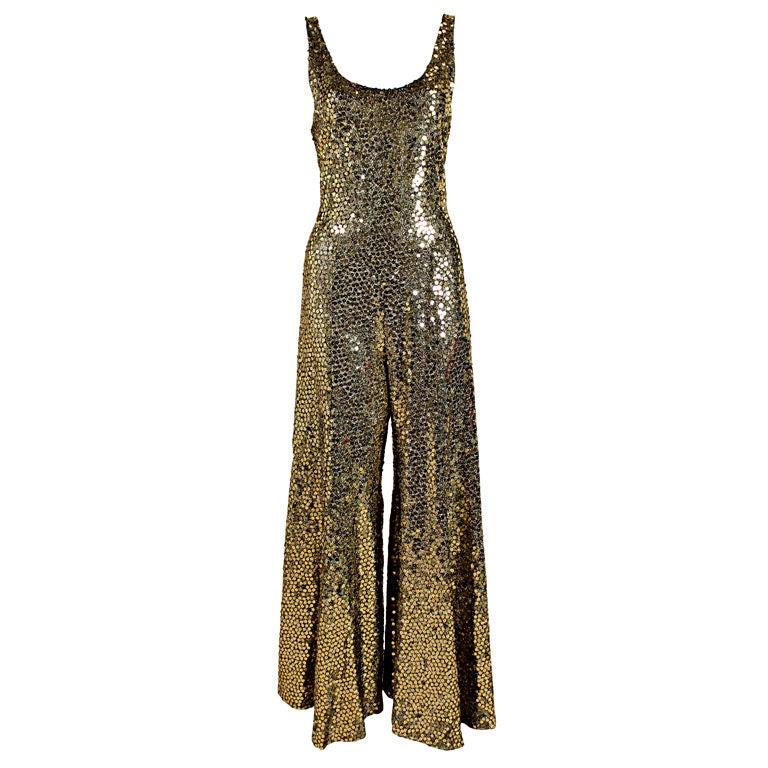 1970 S Chloe Gold Sequined Lurex Jumpsuit At 1stdibs